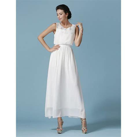 Ankle length Chiffon / Lace Bridesmaid Dress   White A