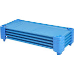 "Ecr4kids Children's Naptime Cot, Stackable Daycare Sleeping Cot for Kids, 52"" L x 23"" W, Assembled, Blue (Set of 5)"