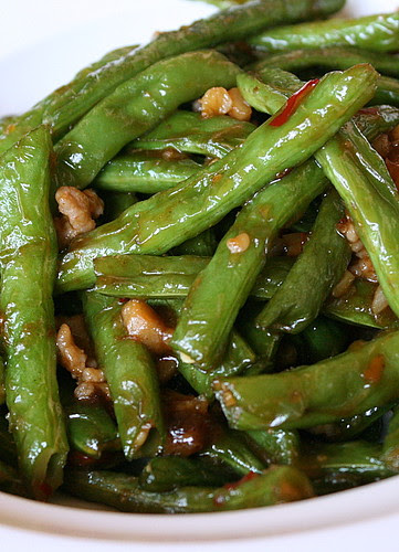 Fried String Beans with Minced Pork, Mushrooms and Dried Shrimps