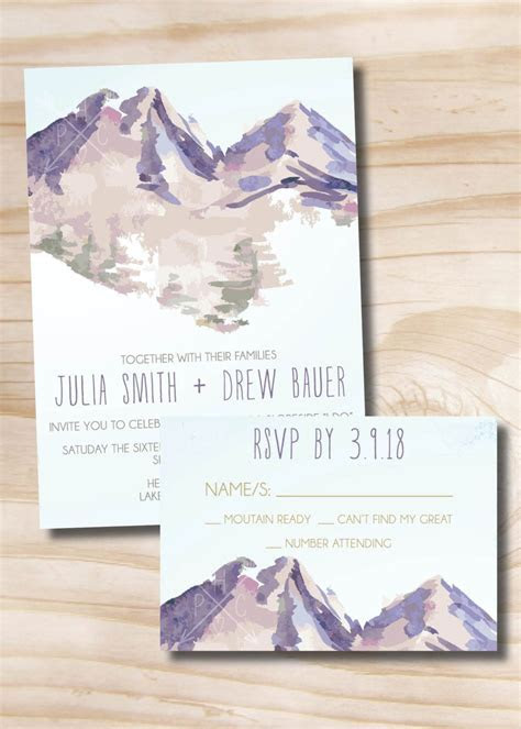Watercolor Mountain Wedding Invitation Response Card