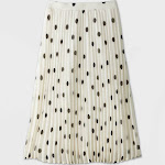 Women's Polka Dot Pleated A-Line Midi Skirt - A New Day White XXL