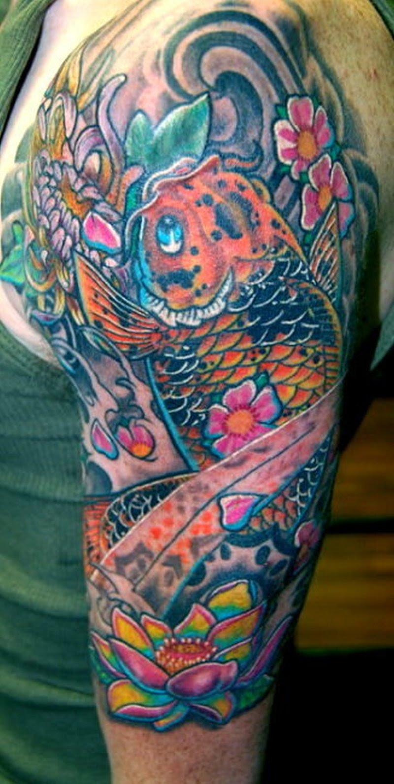 Half Sleeve Koi Fish N Flowers Tattoo Design Tattoos Book 65000