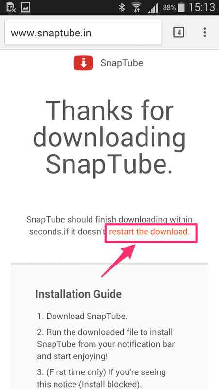how to retry downloading SnapTube