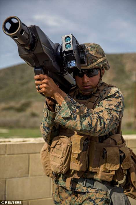 Another anti-drone weapon tested was the SkyWall 100, a portable, 25-pound system that is shoulder-launched and fires a mortar-like projectile containing a net at a flying drone within a range of 130 yards