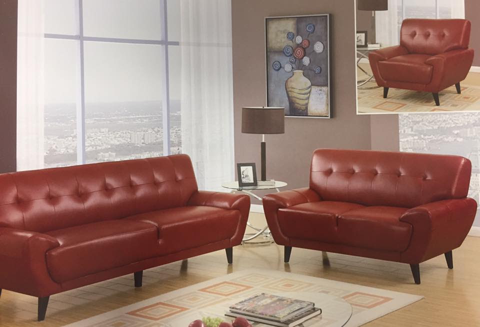 Contemporary Red Leather Living Room Set