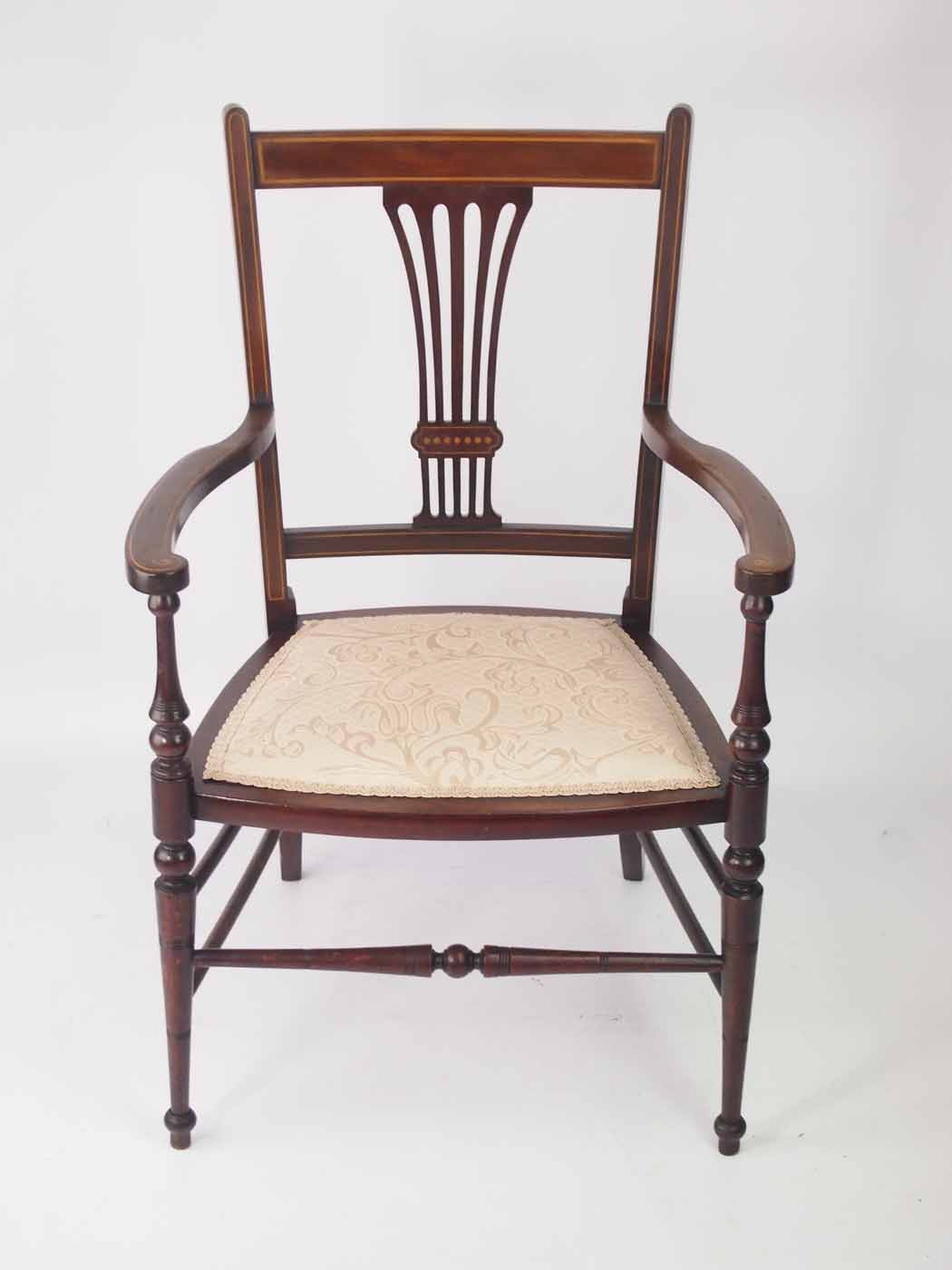 Small Edwardian Open Armchair / Bedroom Chair