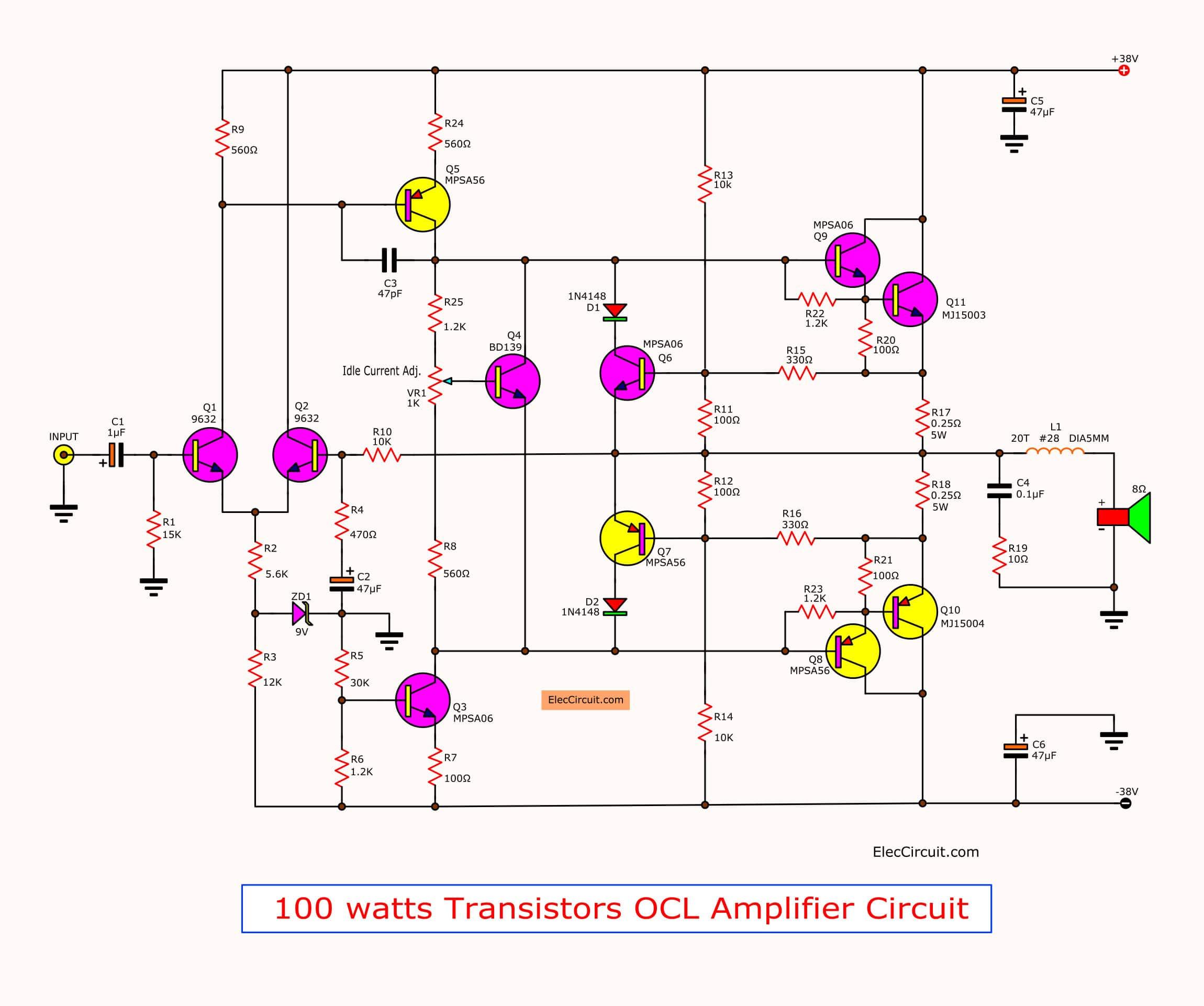 2n3055 Transistor Used Public Address Amplifier Circuit