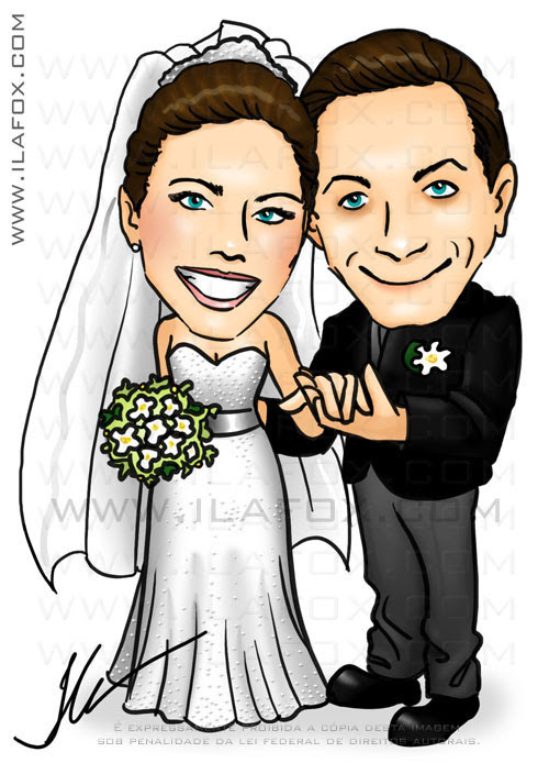 caricatura colorida, casal, noivos, corpo inteiro, caricatura para casamento, noivinhos Jaqueline e Sergio by ila fox