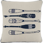 SARO 342.NB18SP 18 in. Square Navy Blue Oars Throw Pillow with Poly Filling