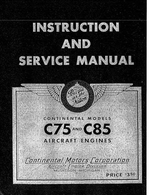 Continental Model C75 & C85 Aircraft Engine Instruction