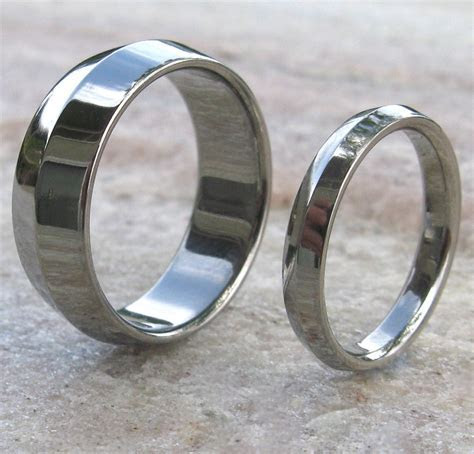 Matching Titanium Wedding Band Set   stn7   Titanium
