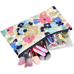 "Zodaca Fashion Pencil Case Cosmetic Makeup Pouch Bag for Camping Hiking Backpacking Travel (Size: 10 W x 5.5""H) - Oceans Bloom Floral"