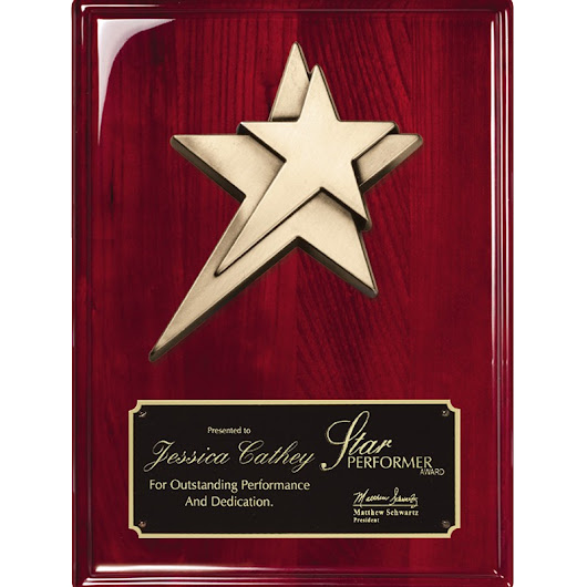 Star Casting Mounted to Rosewood Piano Finish Plaque