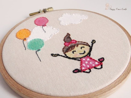 Happy Girl Embroidery Hoop Art Balloons Wall Art by happyfacecraft