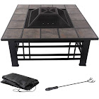 "Fire Pit Set Wood Burning Pit 32"" Square Tile - Pure Garden"