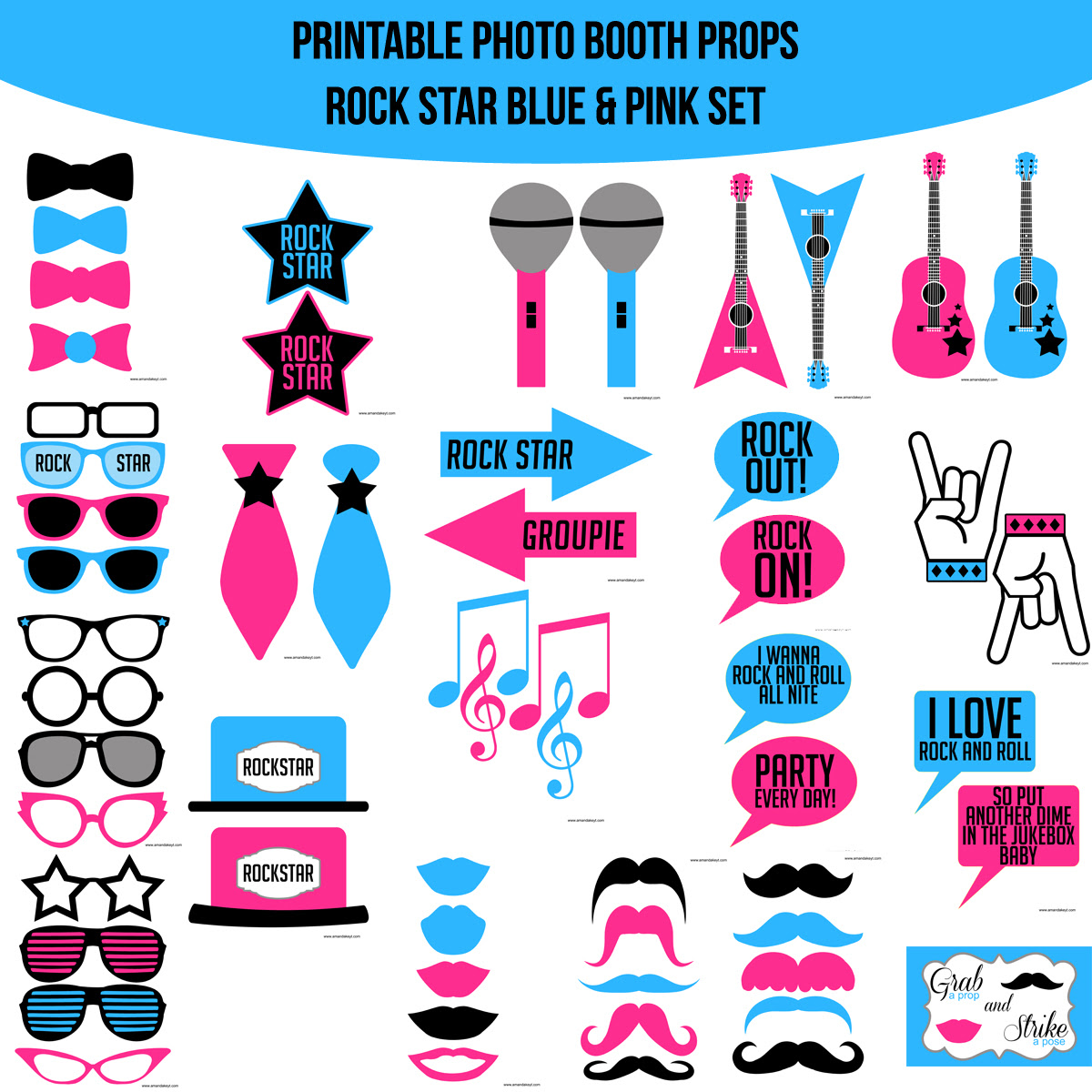 Instant Download Rock Star Blue Pink Printable Photo Booth Prop Set