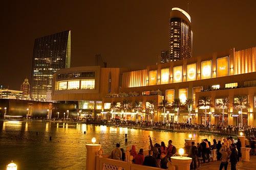 Dubai mall reflections at night