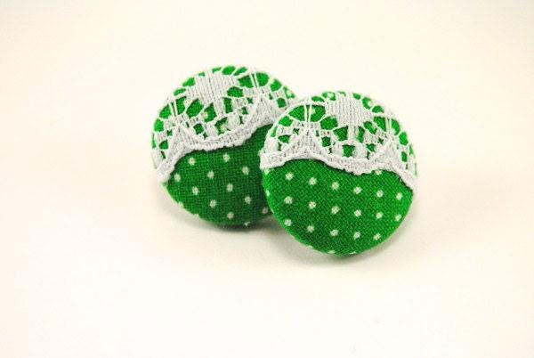 White Lace & Kelly Green/White Polka Dot Button Earrings