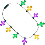 Blinkee BBFMGLPN Fat Tuesday Fleur De Lis Huge LED Flashing Charm Mardi Gras Crewe Necklace