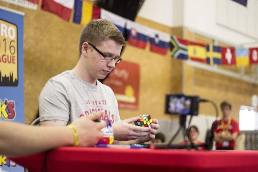 Watch a 'speedcuber' solve a Rubik's Cube at a near superhuman pace