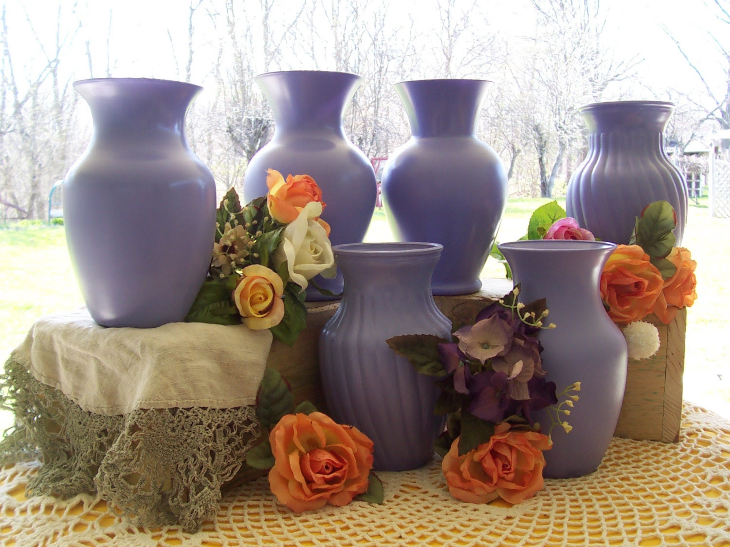 Painted Vases Table Wedding centerpiece flower 6 shabby cottage chic purple reception decorations glass country rustic vases wedding