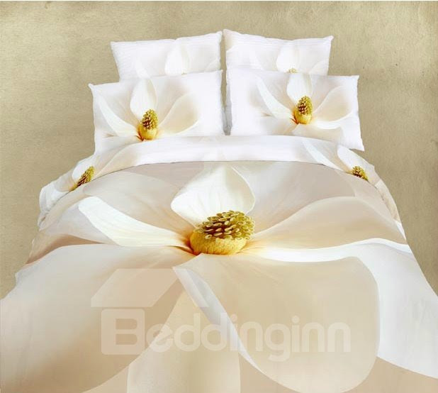 White Flower All Cotton Skin Care 4-Piece Bedding Sets (10513997)