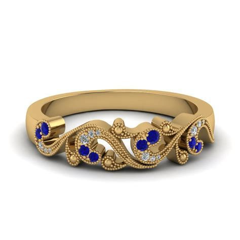 Filigree Diamond Wedding Band For Women With Sapphire In