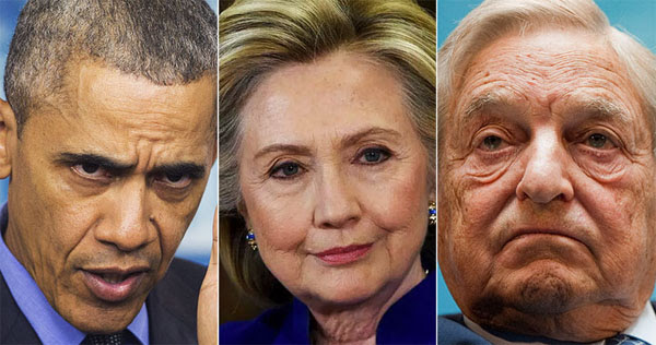 Former President Barack Obama, former Democratic Party presidential nominee Hillary Clinton and leftist billionaire George Soros