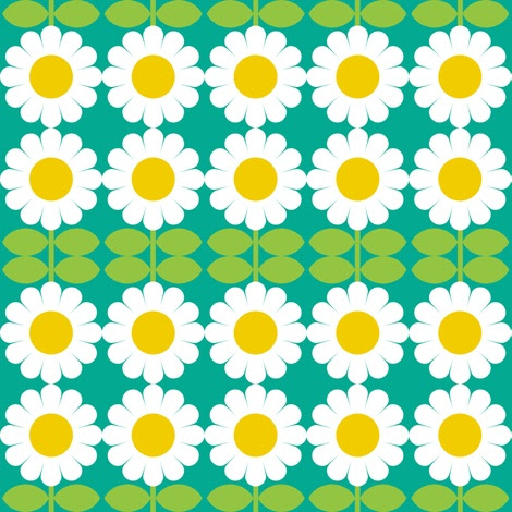 daisy turquoise fabric by aliceapple on Spoonflower - custom fabric