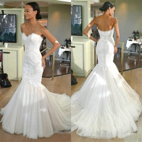 Lace Mermaid Wedding Dresses Sweetheart Lace Tulle Sweep