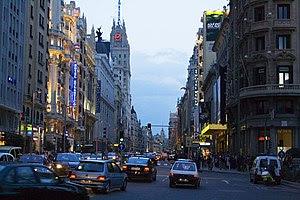 Night view from the Gran Vía, a downtown avenu...