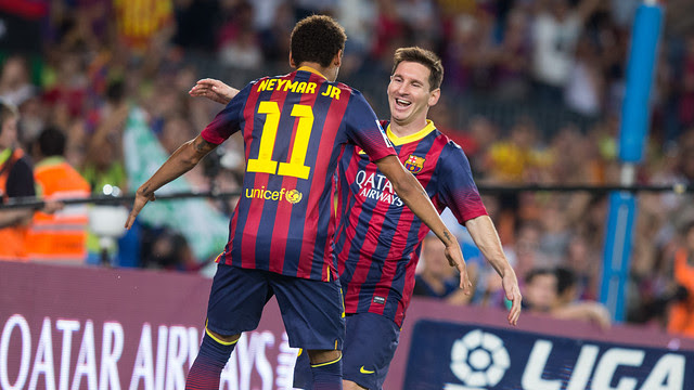 Neymar and Messi Celebrating the Goal
