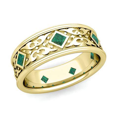 celtic wedding band  men   gold princess cut