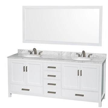 Bathroom Vanity and Mirror in White lots of storage