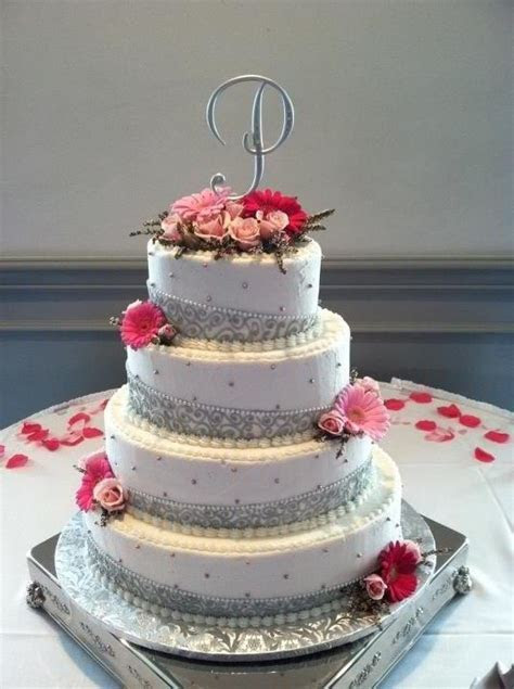 Pink and silver wedding cake   Wedding   Pinterest   The o
