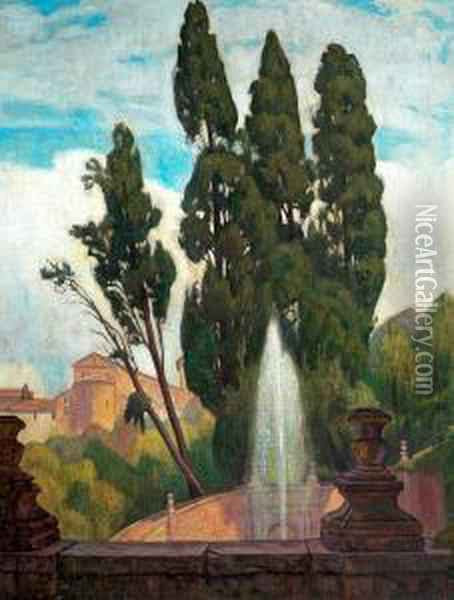 A Town With Fountain. Signed Einar Wegener Oil Painting - Einar, Lili Elbe Wegener