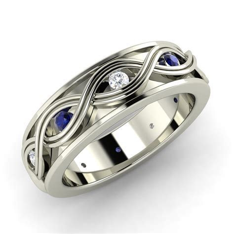 0.3ct Blue Sapphire & SI Diamond Sterling Silver Infinity