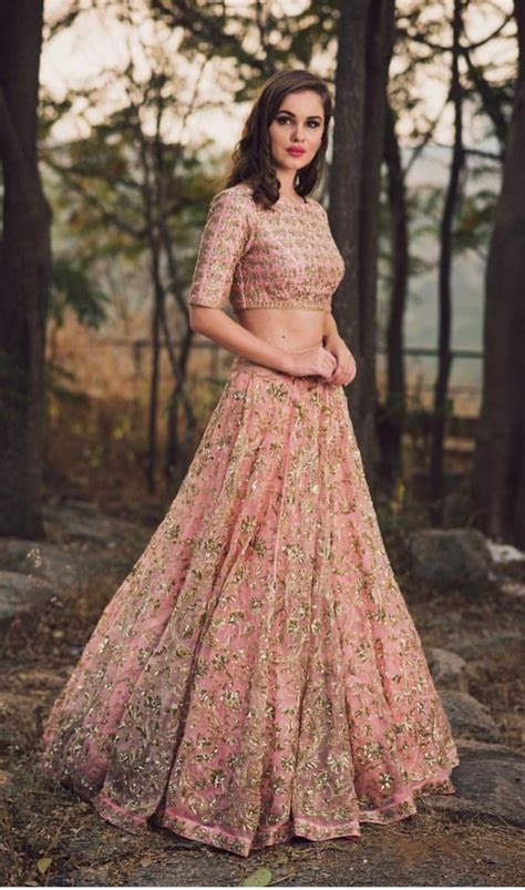 Pink and gold lengha   clothes   Indian designer wear