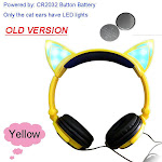 Cat Ear headphones LED Ear headphone cat earphone Flashing Glowing Headset Gaming Earphones for Adult and Children OLD Yellow