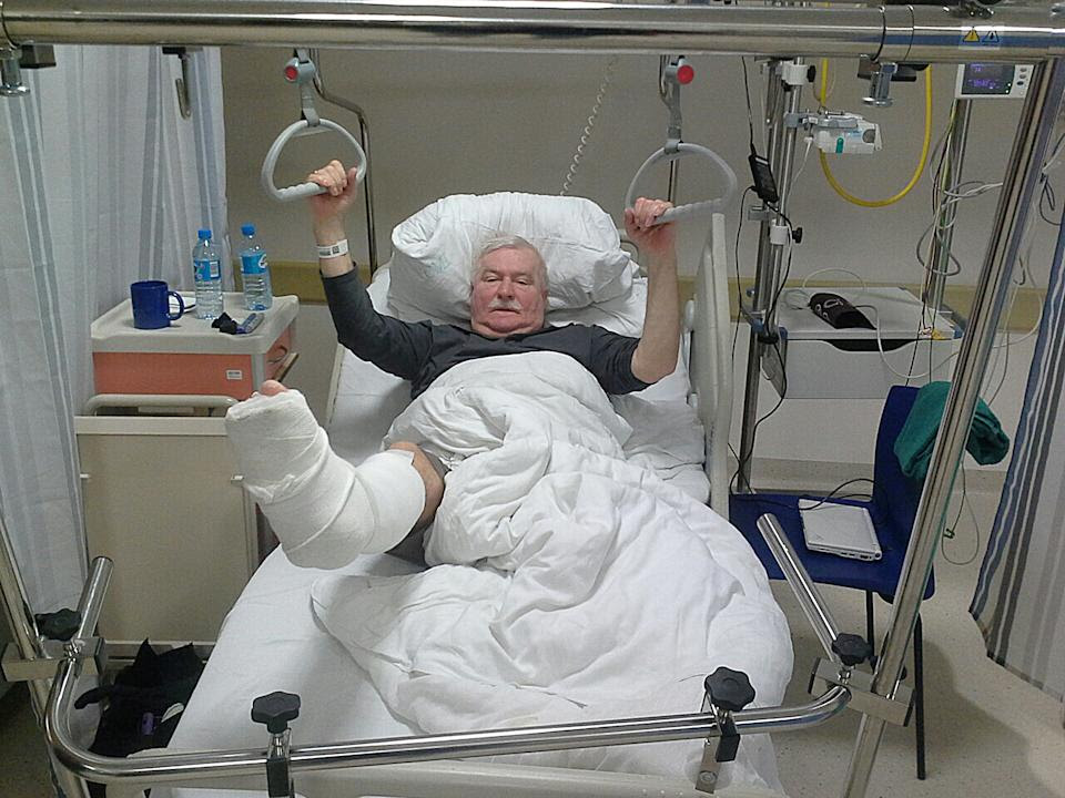 The photo provided by the blog of  Lech Walesa, the former Polish democracy leader and former president, shows him recovering in a hospital after...