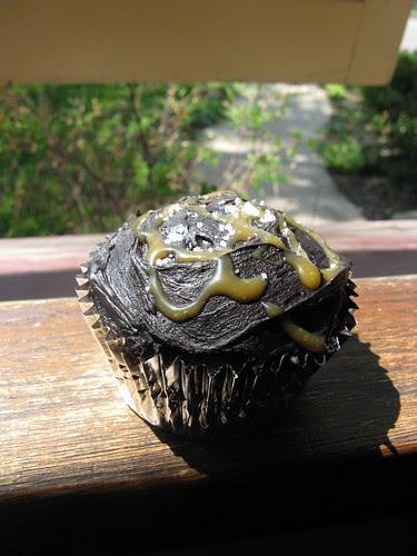 Dark Chocolate Cupcakes with Caramel & Sea Salt
