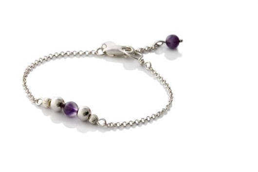 Sterling Silver Natural Amethyst Minimalist - KTC316a