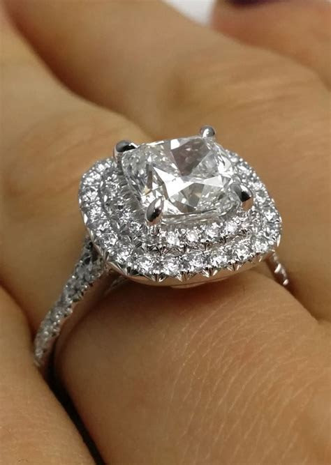 Cushion Diamond Double Halo Pave Engagement Ring