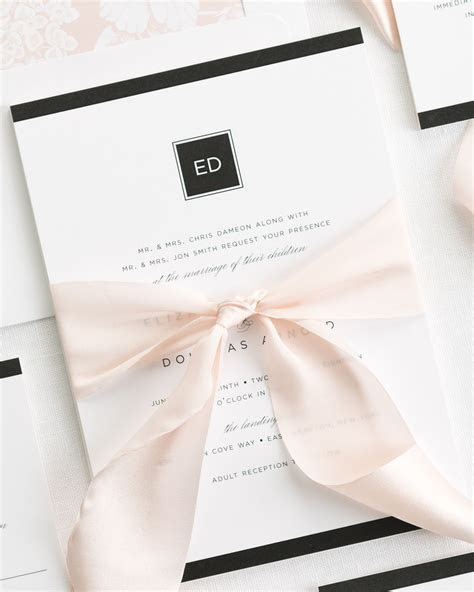 Modern Glamour Ribbon Wedding Invitations   Ribbon Wedding