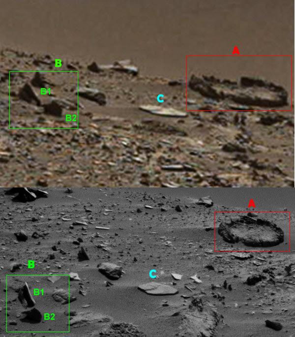 Confrontando le due immagini che mostrano la stessa area in cui le anomalie si verificano su Marte
