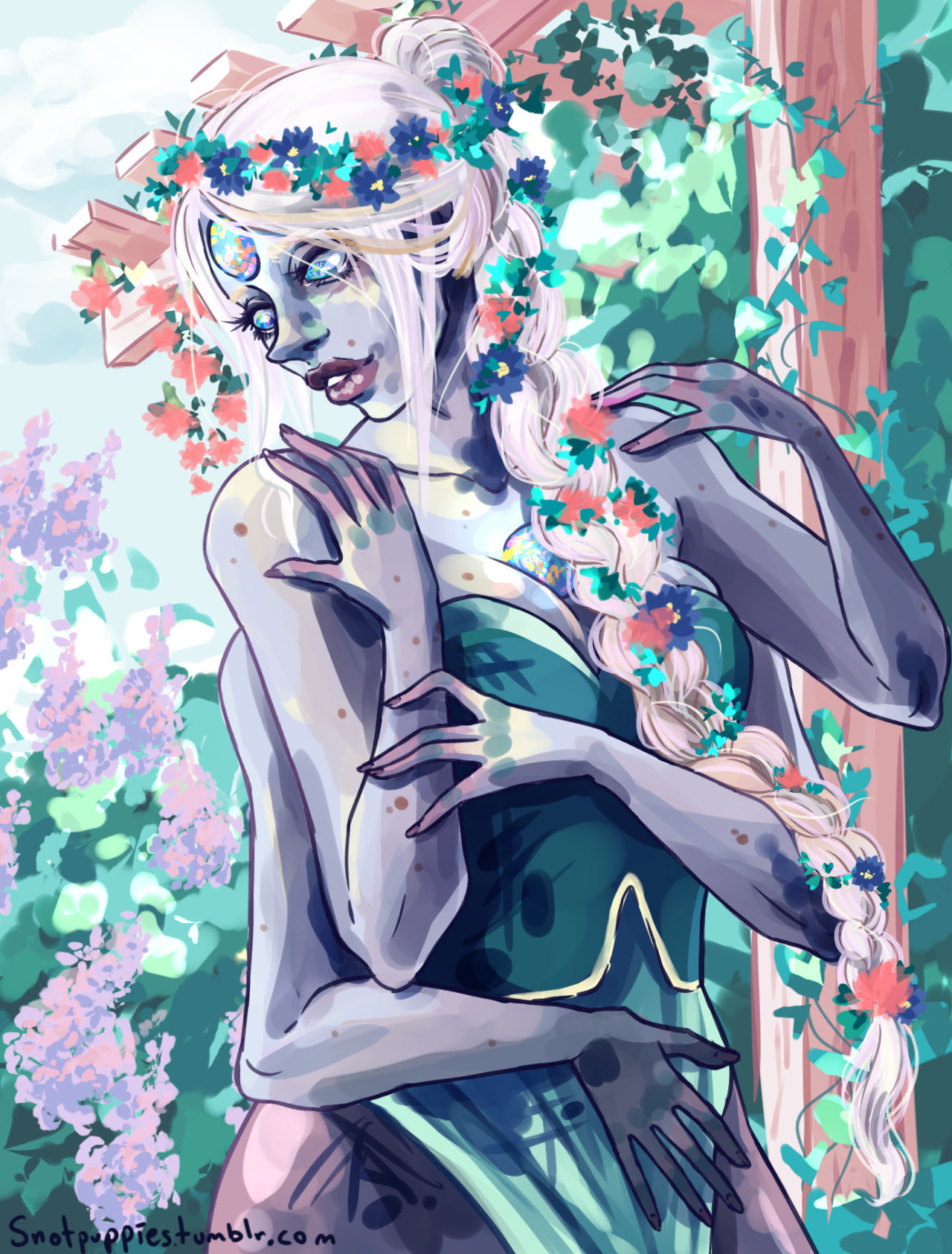 Thank you so much @steven-universe-shit-posts​ for the suggestion to draw Opal with braided, flowery hair!!