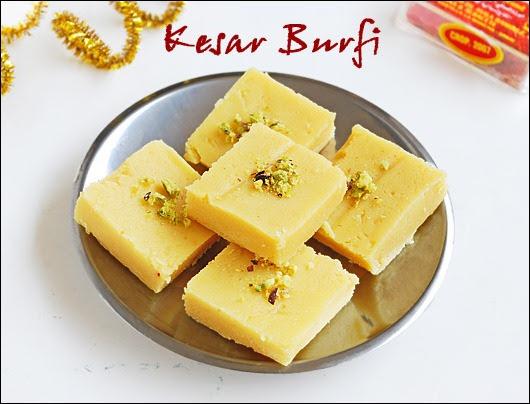 Kesar burfi (with khoya)