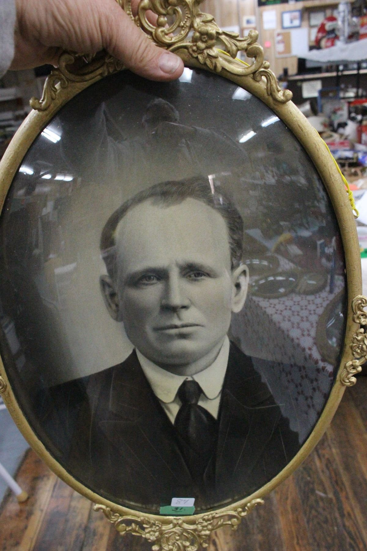 Mans Portrait In Metal Oval Convex Glass Frame