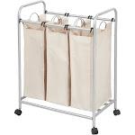iDesign Hampers Gray/Cream - Silver Three-Slot Laundry Sorter