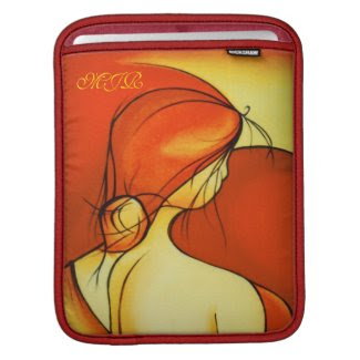 Wistful Lady In Orange - Monogrammed